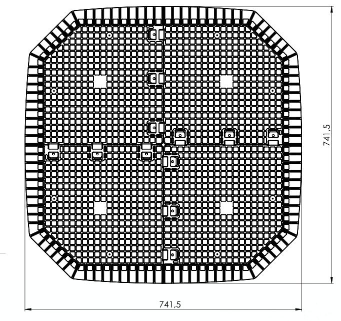 Dibujo de la planta de la base cuadrada antiroedores para evitar ratas y ratones en los compostadores