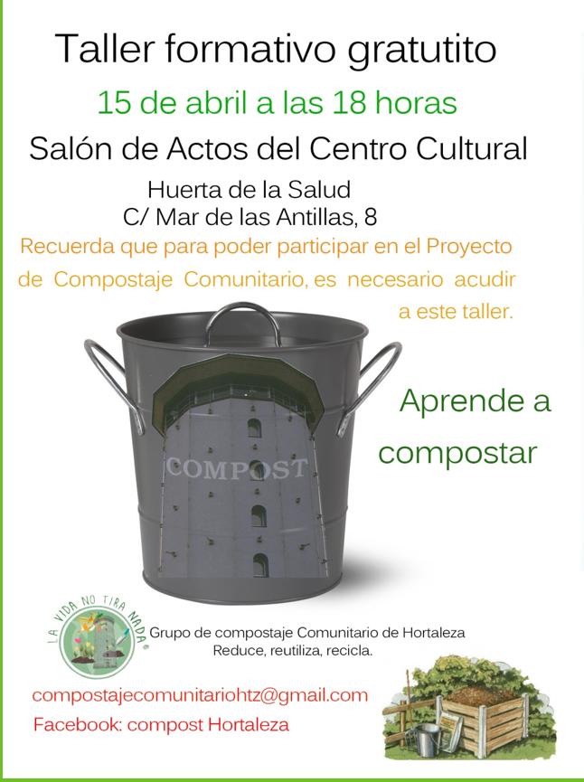 Cartel informativo de la Asociación de Compostaje Comunitario de Hortaleza Madrid